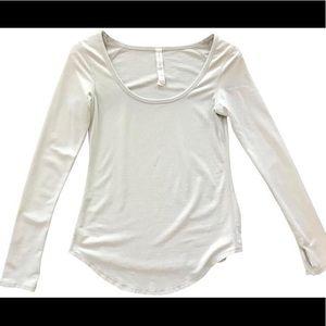 Lululemon Light Gray Long Sleeve Workout Top